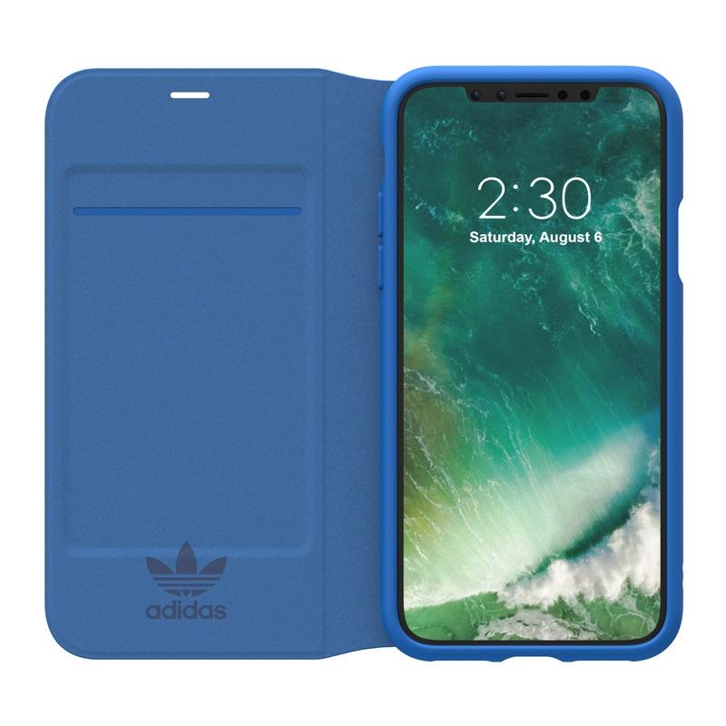 iPhone X Adidas Originals Basic Logo Boek Flip Case Blauw