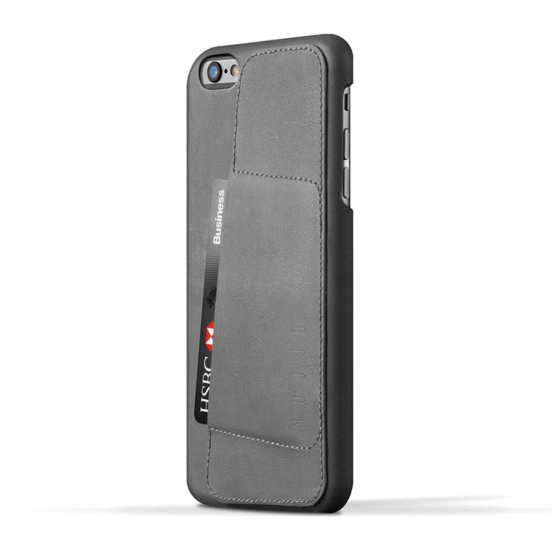 Mujjo Leather Wallet Case 80 iPhone 6 Grey - 1