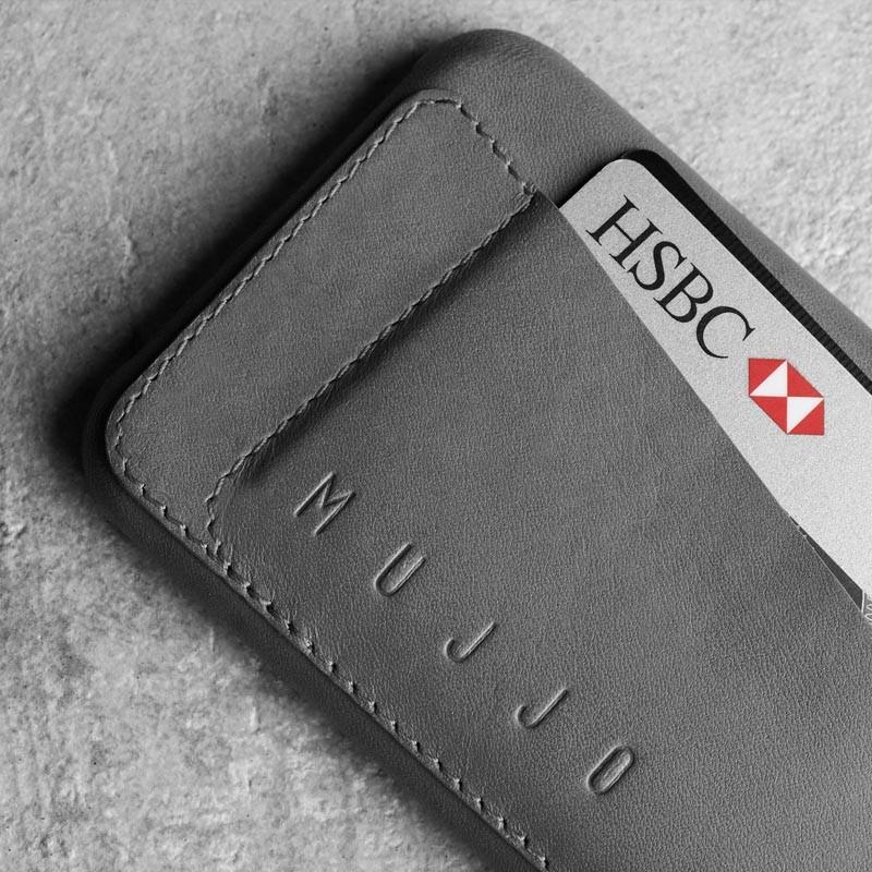 Mujjo Leather Wallet Case 80 iPhone 6 Plus Grey - 4