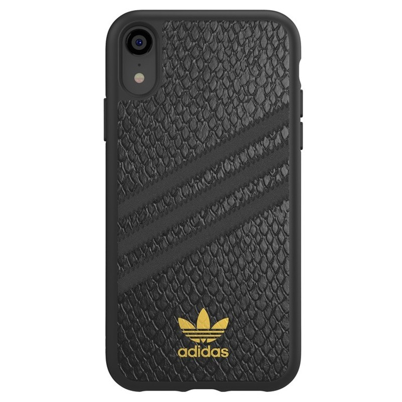 Adidas Moulded Case iPhone Xr zwart goud 01