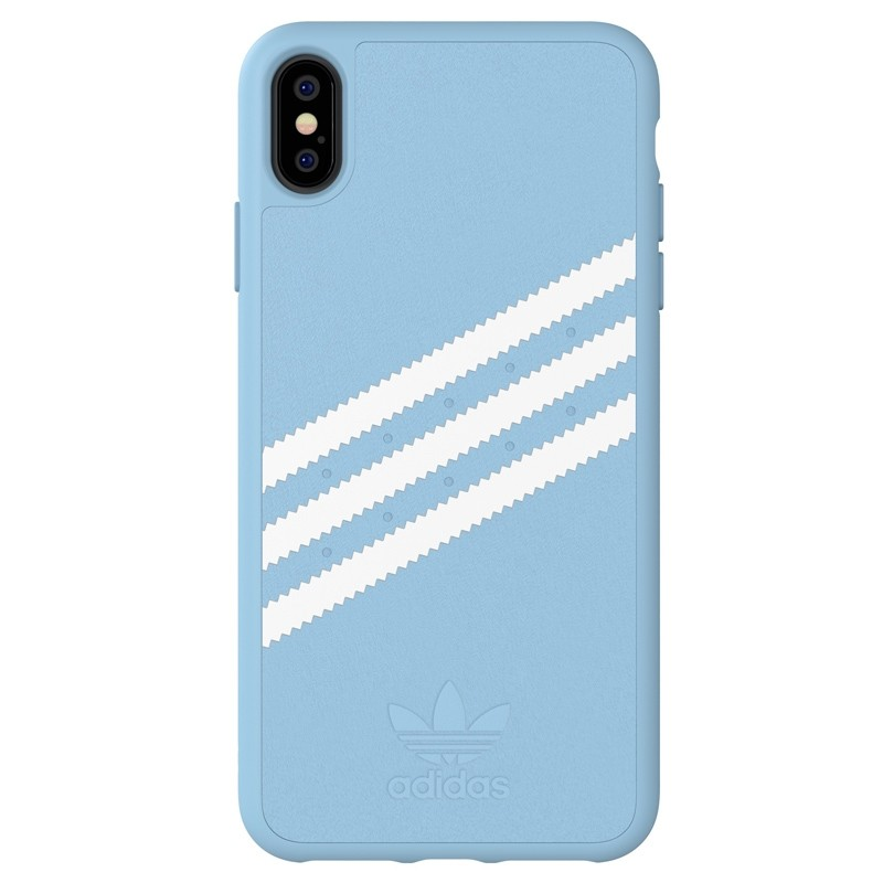 Adidas Moulded Case PU Suede iPhone XS Max hoesje lichtblauw 01