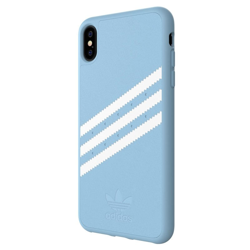 Adidas Moulded Case PU Suede iPhone XS Max hoesje lichtblauw 04