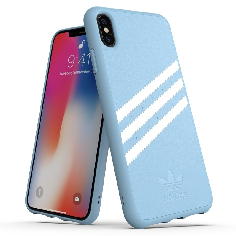 Adidas Moulded Case PU Suede iPhone XS Max hoesje lichtblauw 03