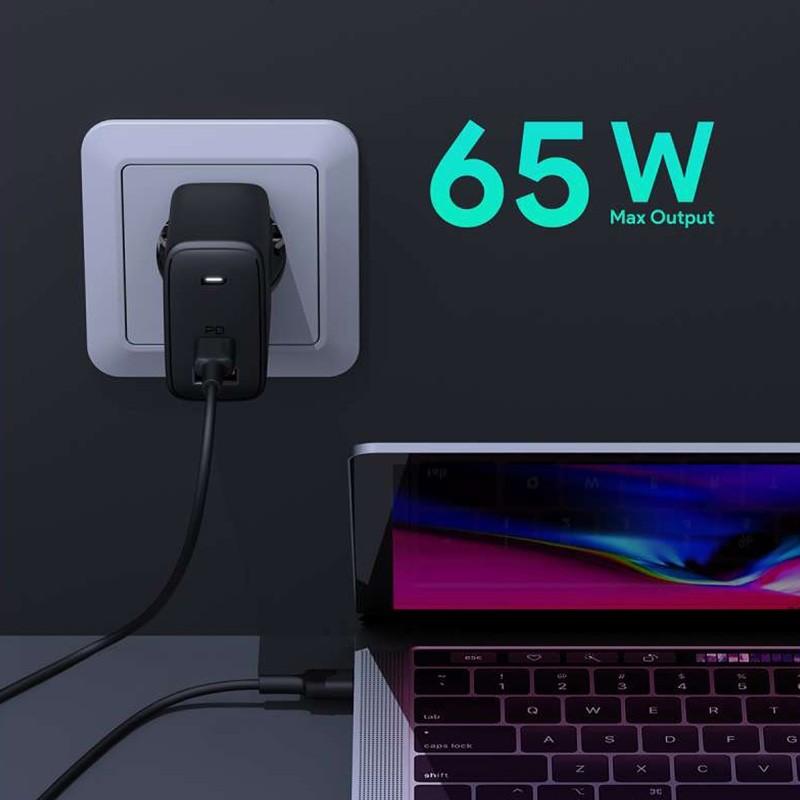 Aukey Oplader 65W USB-C + USB-A met Power Delivery Zwart 07