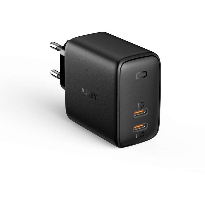 Aukey Oplader 65W met Dubbele USB-C en Power Delivery Zwart 01