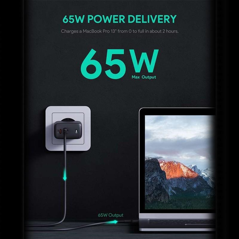 Aukey Oplader 65W met Dubbele USB-C en Power Delivery Zwart 02