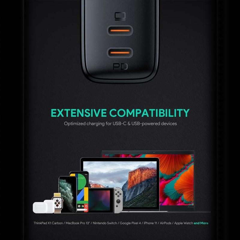 Aukey Oplader 65W met Dubbele USB-C en Power Delivery Zwart 08