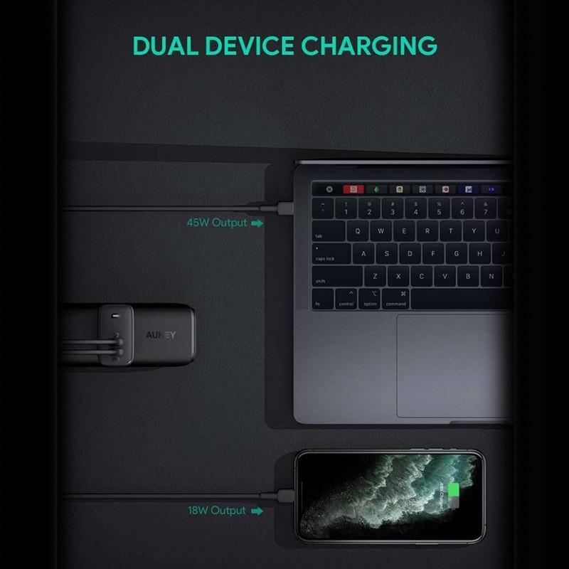Aukey Oplader 65W met Dubbele USB-C en Power Delivery Zwart 06