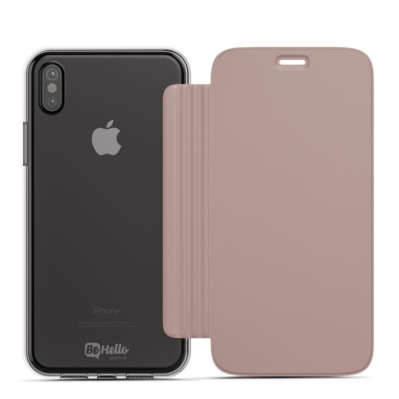 BeHello Clear Back Book Case iPhone X/Xs Roze Goud Transparant 02