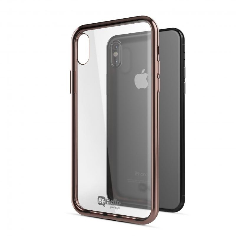 BeHello Gel Case Chrome Edge iPhone X/Xs Roze Goud Zwart 03