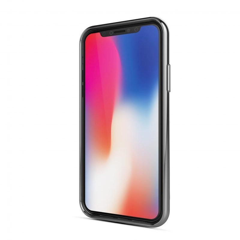 BeHello Gel Case Chrome Edge iPhone X/Xs Zilver Transparant 02