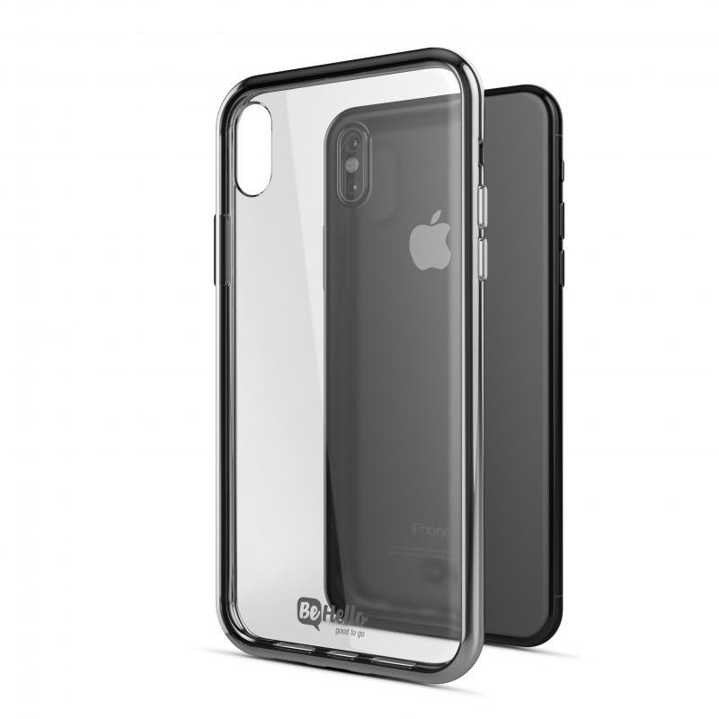 BeHello Gel Case Chrome Edge iPhone X/Xs Zilver Transparant 03