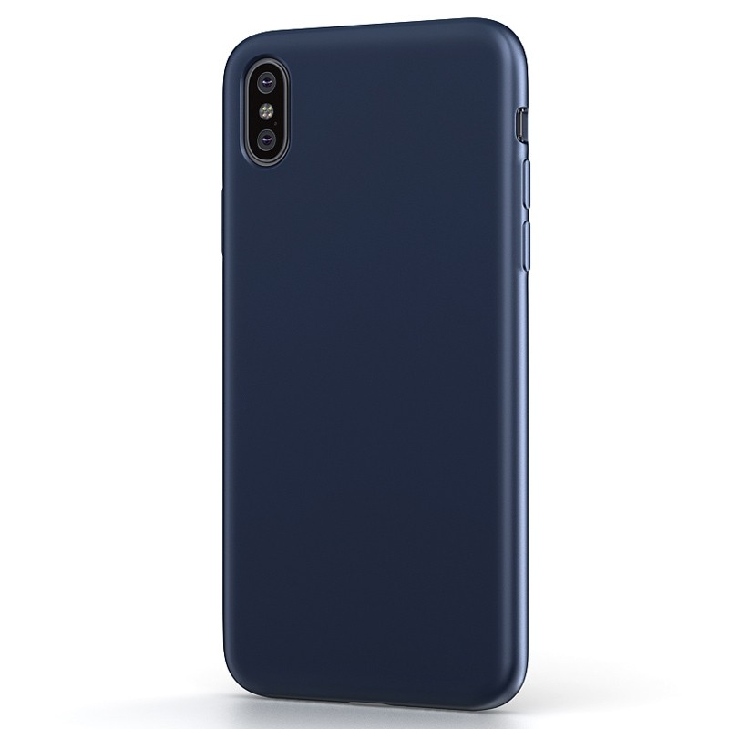 BeHello Liquid Silicon Case iPhone XS Max Blauw 01