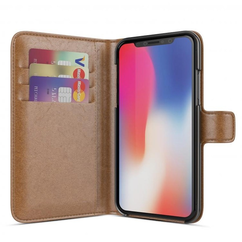 BeHello Wallet Case voor Apple iPhone X/Xs Bruin 01
