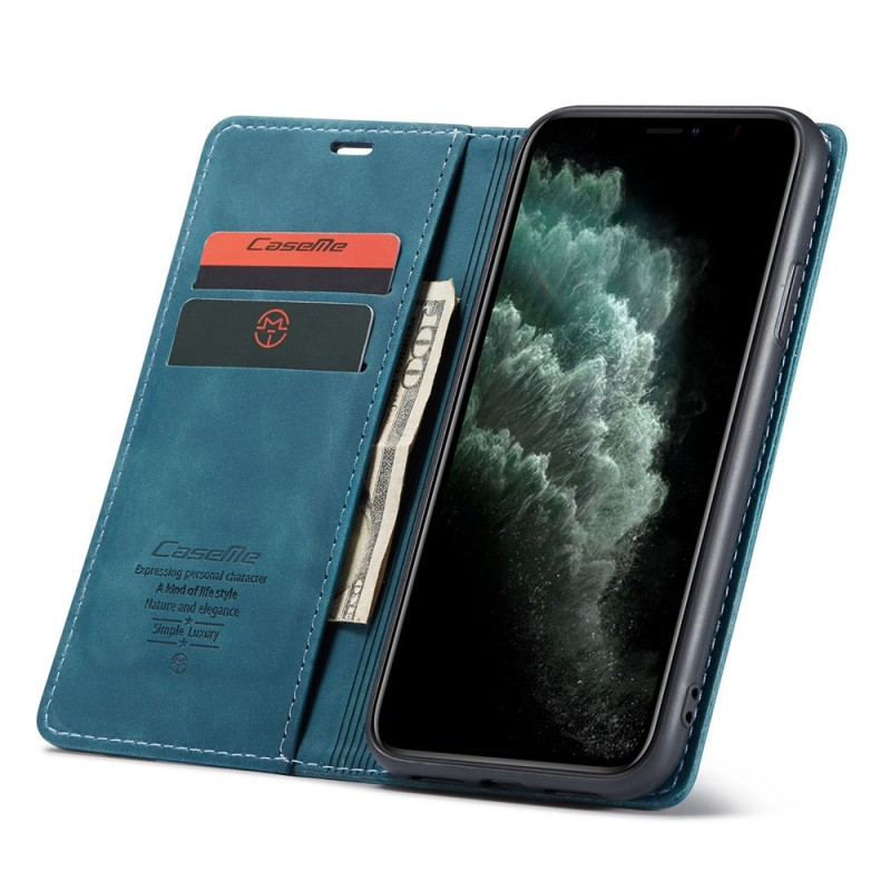 CaseMe Retro Wallet iPhone 11 Blauw - 1