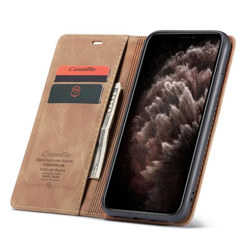 CaseMe Retro Wallet iPhone 11 Pro Bruin - 1