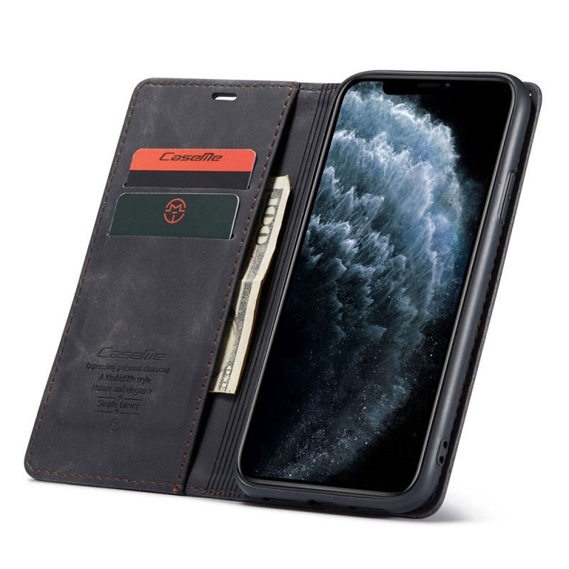 CaseMe Retro Wallet iPhone 11 Zwart - 1