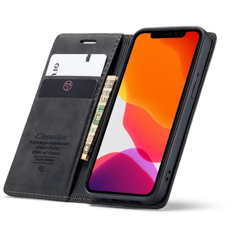 CaseMe Slim Retro Wallet iPhone 12 6.1 inch Zwart - 1