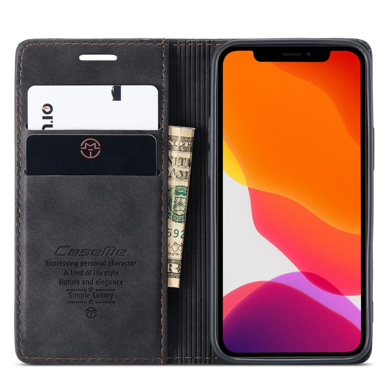 CaseMe Slim Retro Wallet iPhone 12 6.1 inch Zwart - 6