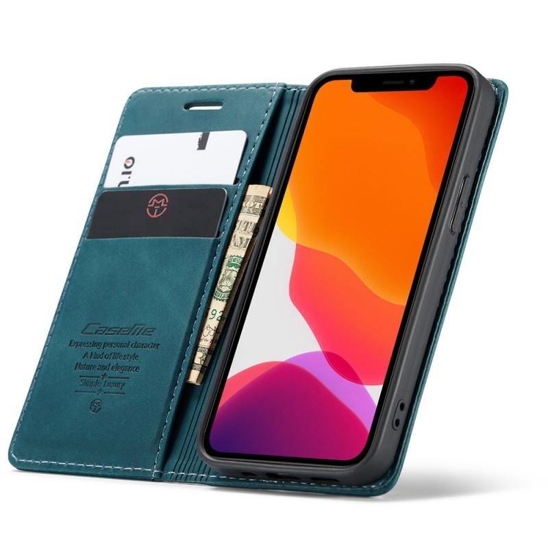 CaseMe Retro Wallet iPhone 12 6.1 inch Blauw - 1