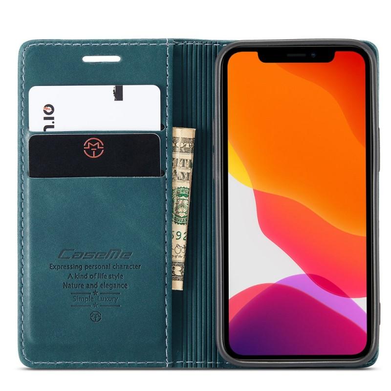 CaseMe Retro Wallet iPhone 12 6.1 inch Blauw - 4