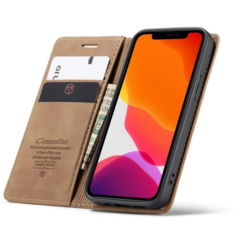 CaseMe Retro Wallet iPhone 12 Pro Max Bruin - 1