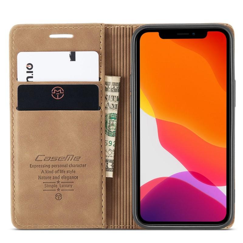 CaseMe Retro Wallet iPhone 12 6.1 inch Bruin - 2