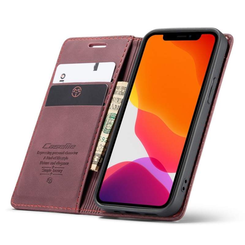 CaseMe Retro Wallet iPhone 12 6.1 inch Paars - 1