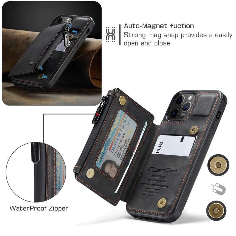 CaseMe Retro Zipper Wallet iPhone 12 - 12 Pro 6.1 inch Zwart 03