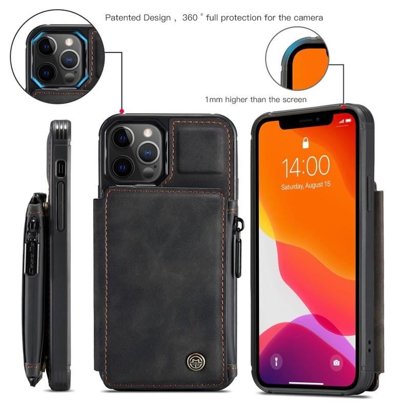 CaseMe Retro Zipper Wallet iPhone 12 - 12 Pro 6.1 inch Zwart 02