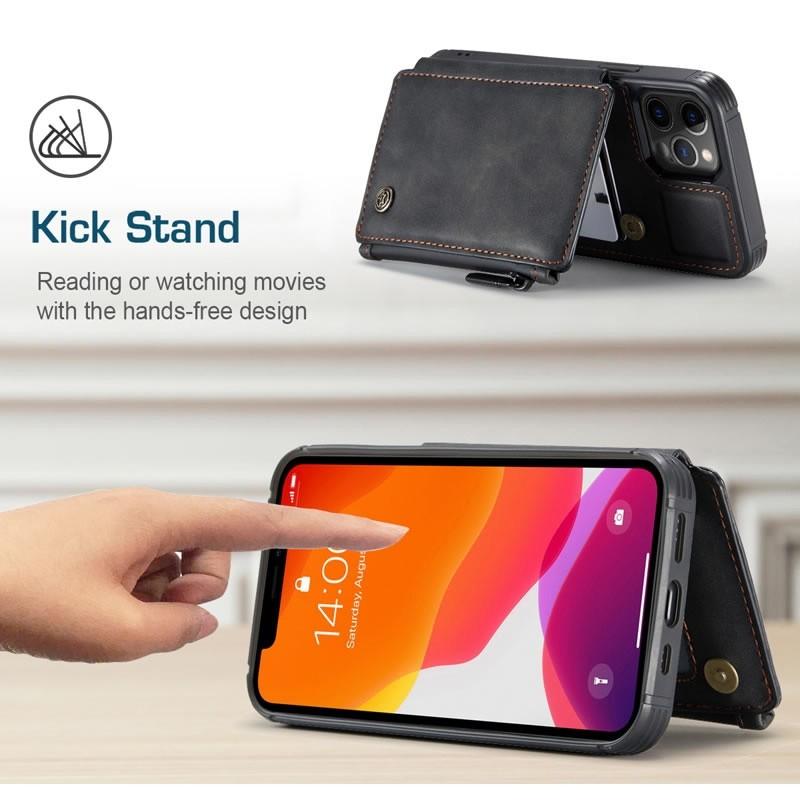 CaseMe Retro Zipper Wallet iPhone 12 - 12 Pro 6.1 inch Zwart 06