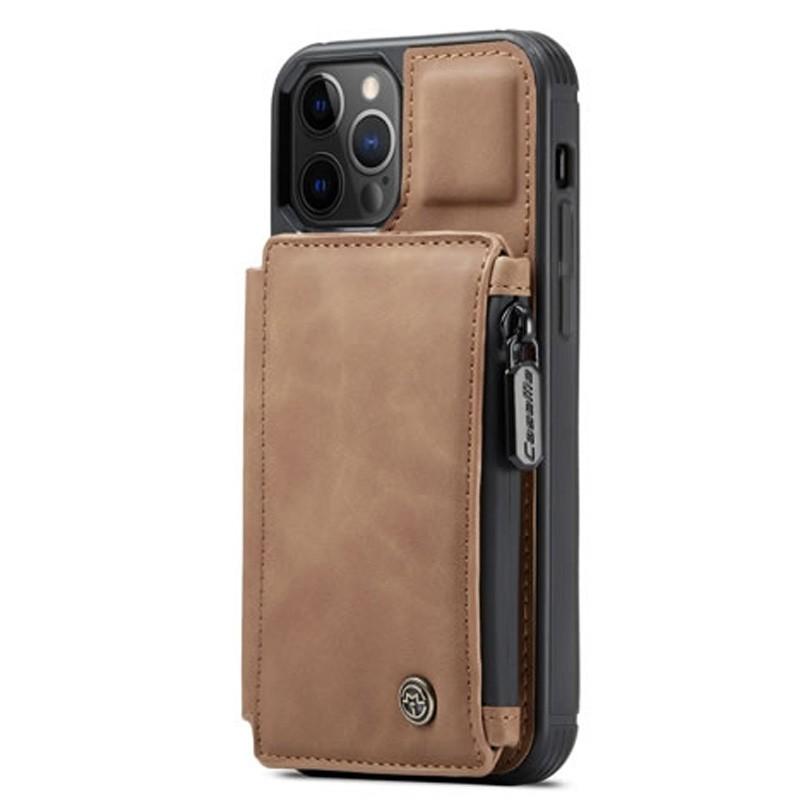 CaseMe Retro Zipper Wallet iPhone 12 - 12 Pro 6.1 inch Bruin 01