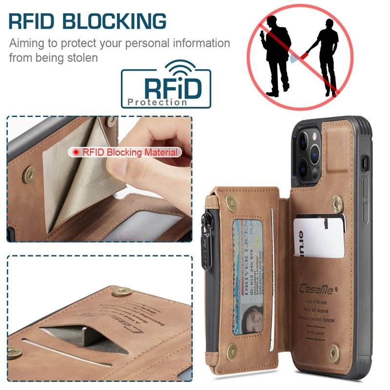 CaseMe Retro Zipper Wallet iPhone 12 - 12 Pro 6.1 inch Bruin 02