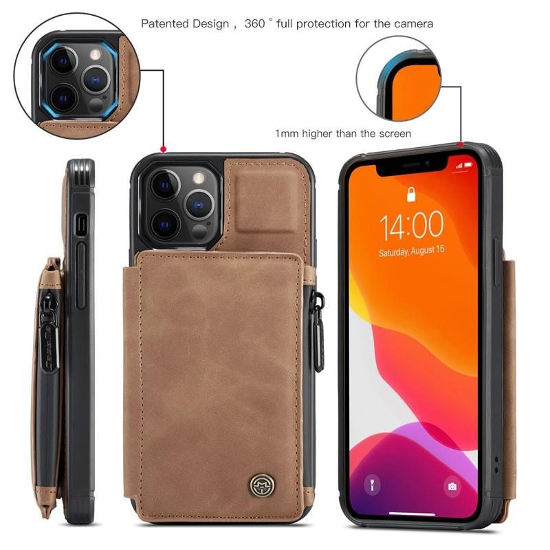 CaseMe Retro Zipper Wallet iPhone 12 - 12 Pro 6.1 inch Bruin 04