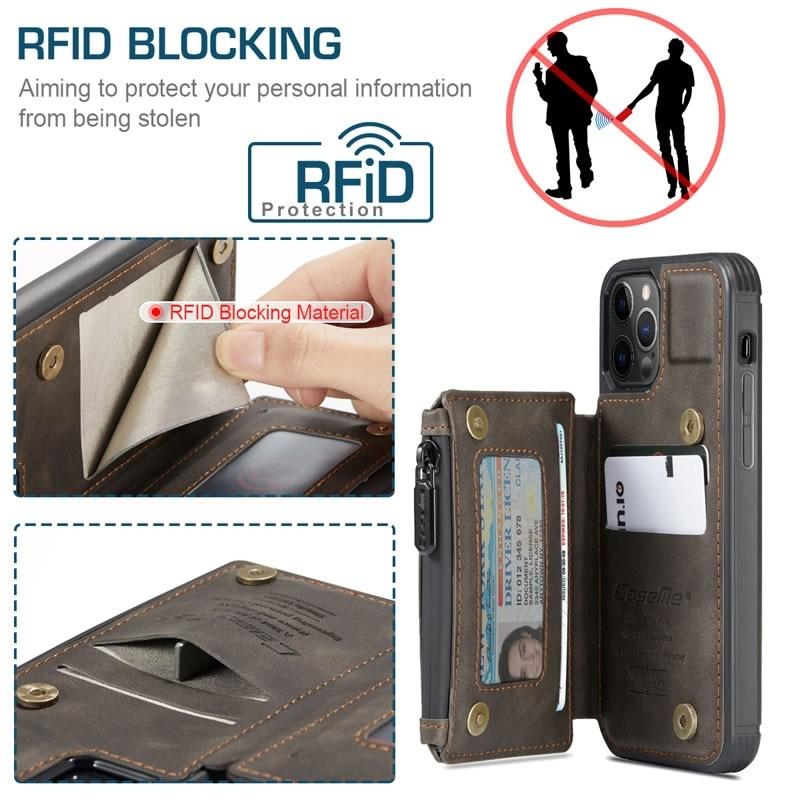CaseMe Retro Zipper Wallet iPhone 12 - 12 Pro 6.1 inch Donkerbruin 02