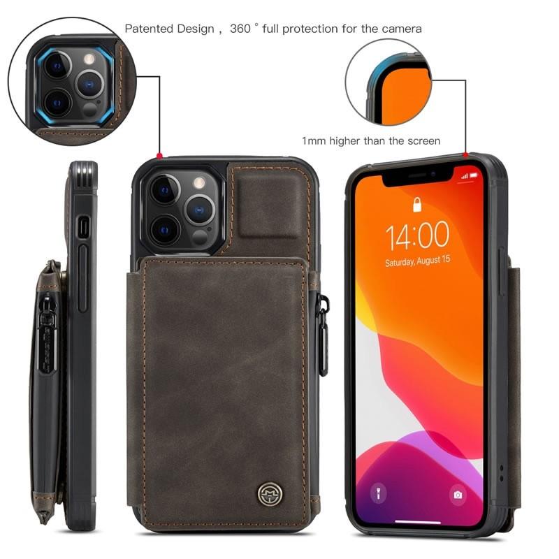 CaseMe Retro Zipper Wallet iPhone 12 - 12 Pro 6.1 inch Donkerbruin 04