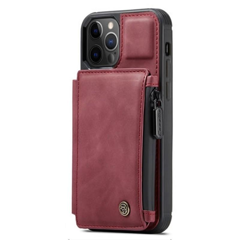 CaseMe Retro Zipper Wallet iPhone 12 - 12 Pro 6.1 inch Rood 01