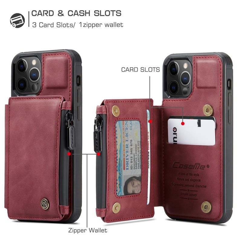 CaseMe Retro Zipper Wallet iPhone 12 - 12 Pro 6.1 inch Rood 03