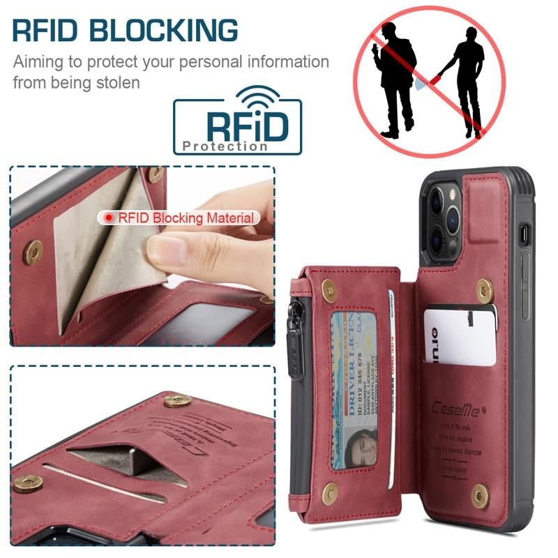 CaseMe Retro Zipper Wallet iPhone 12 - 12 Pro 6.1 inch Rood 04