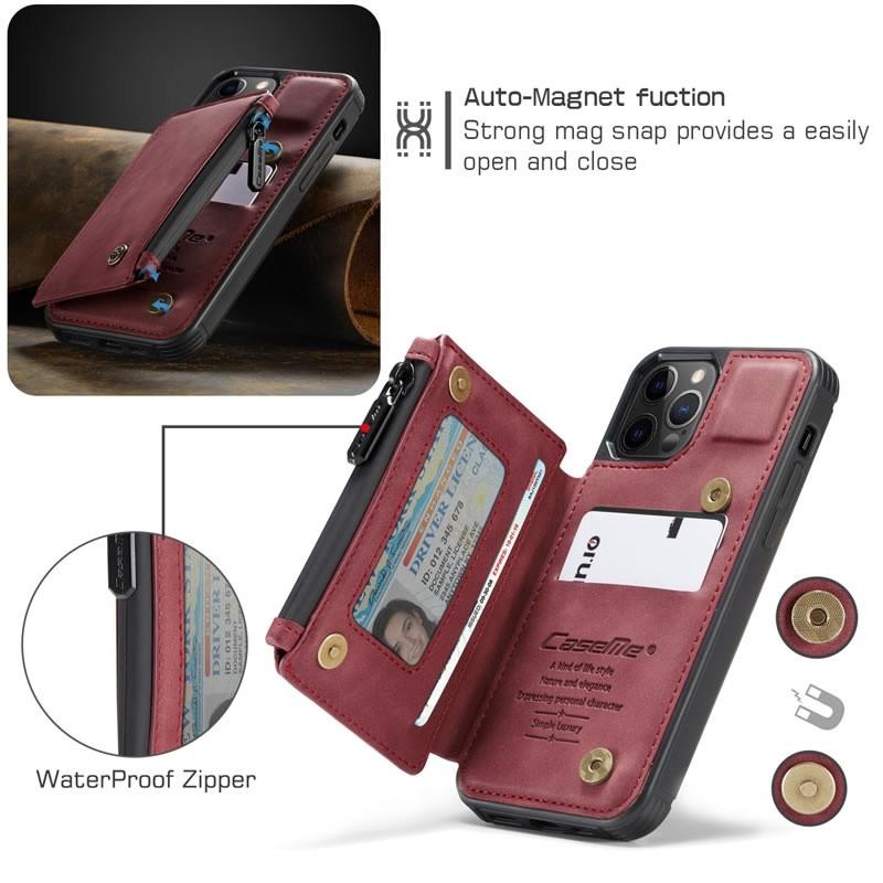 CaseMe Retro Zipper Wallet iPhone 12 - 12 Pro 6.1 inch Rood 02