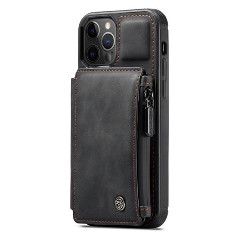 CaseMe Retro Zipper Wallet iPhone 12 Mini 5.4 inch Zwart 01