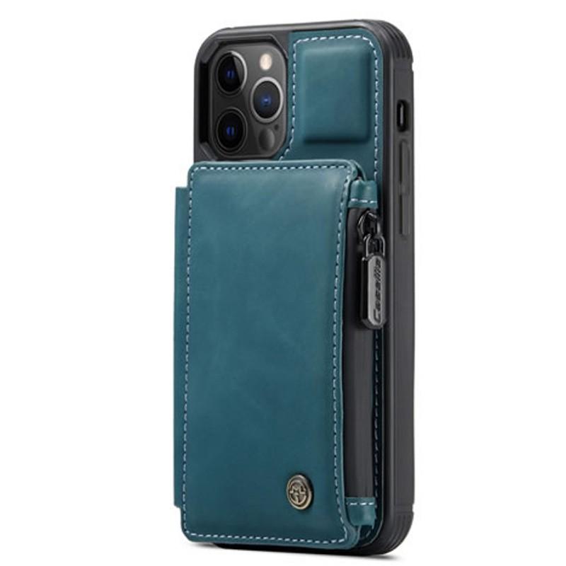 CaseMe Retro Zipper Wallet iPhone 12 Mini 5.4 inch Blauw 01