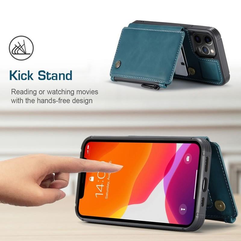 CaseMe Retro Zipper Wallet iPhone 12 Mini 5.4 inch Blauw 05