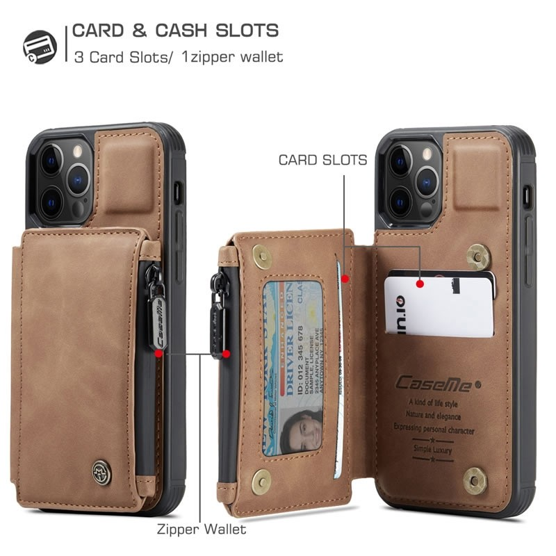 CaseMe Retro Zipper Wallet iPhone 12 Mini 5.4 inch Bruin 05