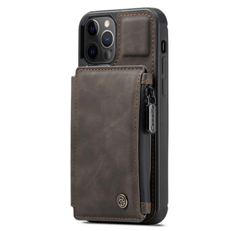CaseMe Retro Zipper Wallet iPhone 12 Mini 5.4 inch Donkerbruin 01