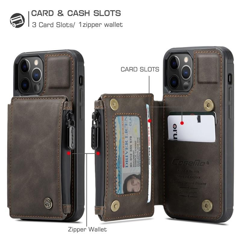 CaseMe Retro Zipper Wallet iPhone 12 Mini 5.4 inch Donkerbruin 05