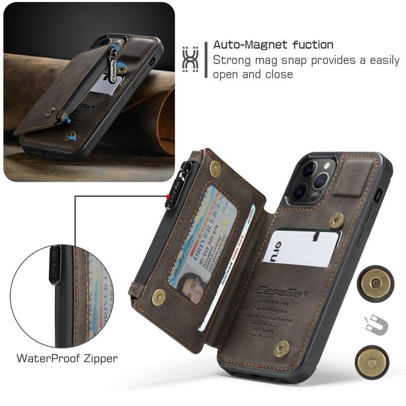 CaseMe Retro Zipper Wallet iPhone 12 Mini 5.4 inch Donkerbruin 02