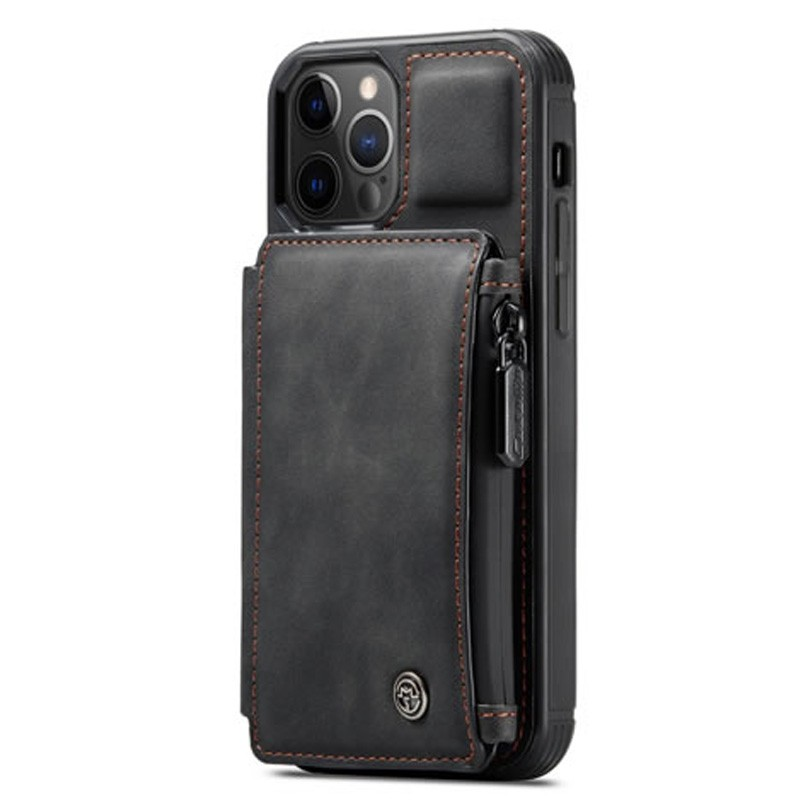 CaseMe Retro Zipper Wallet iPhone 12 Pro Max 6.7 inch Zwart 01