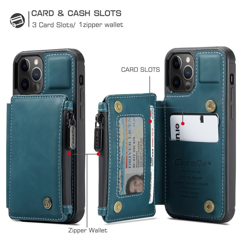 CaseMe Retro Zipper Wallet iPhone 12 Pro Max 6.7 inch Blauw 03