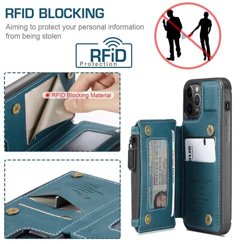 CaseMe Retro Zipper Wallet iPhone 12 Pro Max 6.7 inch Blauw 04